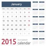 Europeo simple calendario del vector de 2015 años Imagenes de archivo