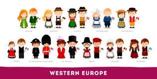 Europeos en ropa nacional Europa occidental stock de ilustración