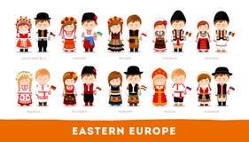 Europeos en ropa nacional Europa Oriental stock de ilustración