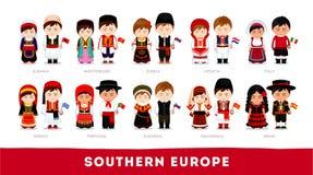 Europeos en ropa nacional Southern Europe stock de ilustración