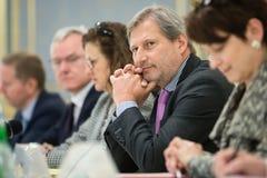 Europese Commissaris Johannes Hahn Stock Fotografie