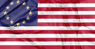 Europese en Amerikaanse verenigde vlaggen Stock Afbeelding