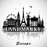 Europese geplaatste oriëntatiepunten Vector silhouetten vector illustratie