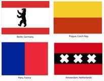 Europese geplaatste stadsvlaggen Royalty-vrije Stock Foto