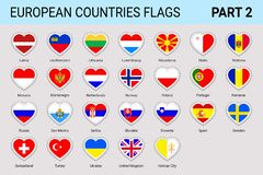 Europese geplaatste vlaggenstickers Vector Europese vlaggeninzameling Nationale symbolen met de naam van het land In patriottisch vector illustratie
