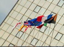 Europese golvende vlaggen Royalty-vrije Stock Afbeeldingen