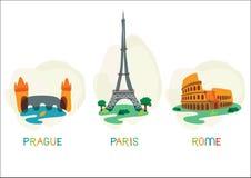 Europese hoofdsymbolen Stock Afbeelding