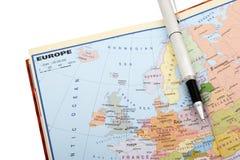 Europese kaart en pen Stock Afbeeldingen