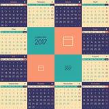 Europese kalender voor het jaar van 2017 Royalty-vrije Stock Fotografie