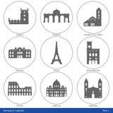 Europese Kapitalen - Pictogramreeks (Deel 1) Stock Afbeeldingen