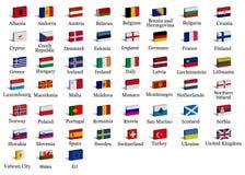 Europese land 3d vlaggen Vector Illustratie