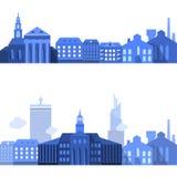 Europese Landschapslijnen met Vlakke Stadselementen Stock Fotografie