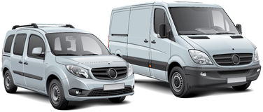 Europese lichte vrachtwagen en MPV Royalty-vrije Stock Foto