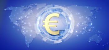 Europese munteuro als globale munt Stock Foto