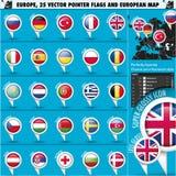 Europese Pictogrammen om Indicatorvlaggen en Kaart Set1 Royalty-vrije Stock Afbeelding