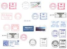 Europese portmeters die over wit worden geïsoleerd Stock Foto
