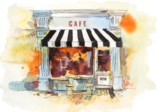 Europese retro restaurant of koffiewaterverfillustratie royalty-vrije illustratie
