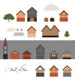 Europese Stadsgebouwen, Vector Geplaatste Illustraties Royalty-vrije Stock Afbeeldingen
