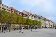 Europese stadsstraat Stock Foto