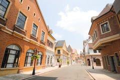 Europese stadsstraat in de ochtend Royalty-vrije Stock Foto