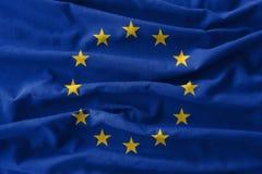 Europese Unie & x28; De EU & x29; vlag het schilderen op hoog detail van golf katoenen stoffen 3D Illustratie Stock Foto