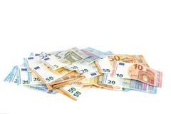 Europese Unie de rekeningenachtergrond van munt euro bankbiljetten 2, 10, 20 en 50 euro De rijke economie van het conceptensucces Stock Foto's