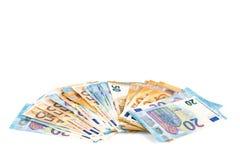 Europese Unie de rekeningenachtergrond van munt euro bankbiljetten 2, 10, 20 en 50 euro De rijke economie van het conceptensucces Royalty-vrije Stock Afbeeldingen