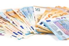 Europese Unie de rekeningenachtergrond van munt euro bankbiljetten 2, 10, 20 en 50 euro De rijke economie van het conceptensucces Royalty-vrije Stock Fotografie