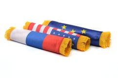 Europese Unie, de Russische Federatie en vlaggen van de Verenigde Staten van Amerika Stock Fotografie