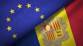 Europese Unie en Andorra twee vlaggen textieldoek, stoffentextuur vector illustratie