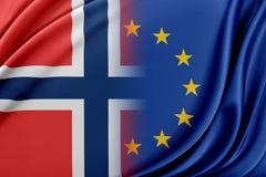 Europese Unie en Noorwegen Het concept verband tussen de EU en Noorwegen stock illustratie