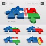 Europese Unie en van Wit-Rusland, Bulgarije, Polen, Hongarije, Moldavië Vlag 3D VectorRaadsel Reeks 03 Stock Fotografie