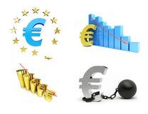 Europese Unie, euro die crisis op witte achtergrond wordt geplaatst Royalty-vrije Stock Afbeeldingen