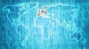 Europese Unie grondgebied op wereldkaart Stock Fotografie