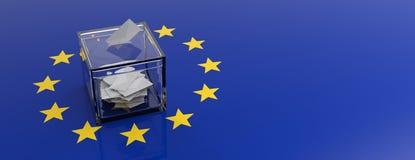 Europese Unie het parlementsverkiezing De stemming van doos over de EU-vlagachtergrond 3D Illustratie royalty-vrije illustratie