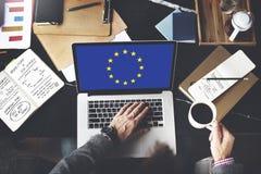 Europese Unie van de de Vlagnationaliteit van het Land de Cultuur Liberty Concept Royalty-vrije Stock Foto