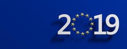 Europese Unie verkiezing Het witte aantal van 2019 met een gouden sterrencirkel op blauwe achtergrond 3D Illustratie royalty-vrije illustratie
