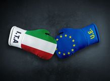 Europese Unie versus het conflict van Italië conpet stock foto