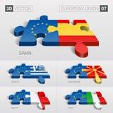 Europese Unie vlag 3D VectorRaadsel Reeks 07 Royalty-vrije Stock Afbeeldingen
