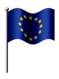 Europese Unie vlag die over wit wordt geïsoleerd Stock Foto's