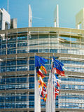 Europese Unie Vlagvlieg bij halve mast na de terrorist van Manchester Royalty-vrije Stock Afbeelding