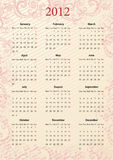 Europese Vector roze kalender 2012 Royalty-vrije Stock Afbeeldingen