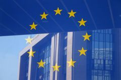 Europese vlag Brussel Royalty-vrije Stock Foto's