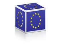 Europese vlag op doos Stock Foto's