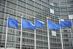 Europese vlaggen voor het Berlaymontgebouw Royalty-vrije Stock Afbeeldingen