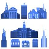Europese Vlakke Stadselementen Stock Afbeeldingen