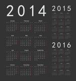 Europeu 2014, 2015, calendários de 2016 anos Foto de Stock