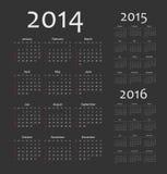 Europeu 2014, 2015, calendários de 2016 anos Imagens de Stock