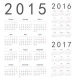 Europeu 2015, 2016, calendários de um vetor de 2017 anos Foto de Stock