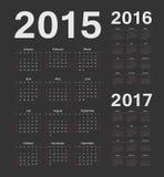Europeu 2015, 2016, calendários de um vetor de 2017 anos Foto de Stock Royalty Free